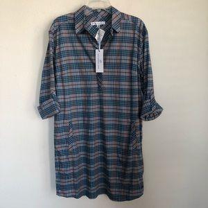 Southern Tide Plaid Half Button Shirt Dress